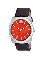 Swisstone Red Dial Black Leather Strap Analog Watch For Men/Boys- ST-GR018-RED-BLK