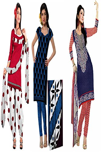Araham soft crepe / American crepe dress material / unstitched Salwar Suit pack of 3 combo No 607