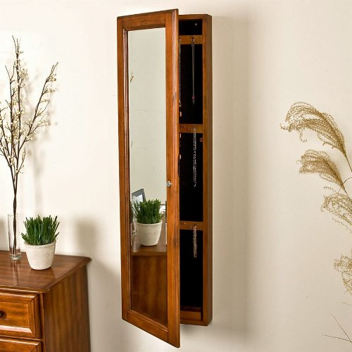 SEI Wall-Mount Jewelry Mirror, Oak