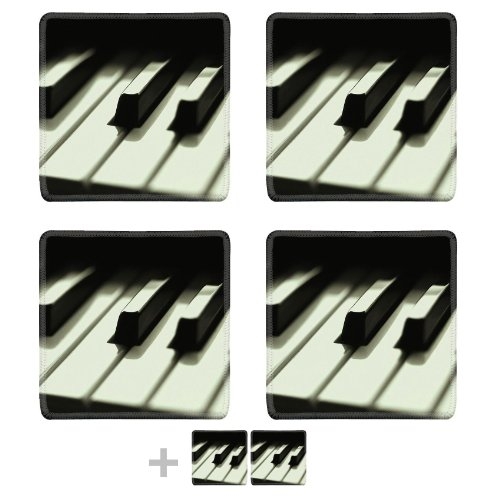 Close Up Of Pianos Keys Black White Square Coaster (6 Piece) Set Fabric Rubber 5 1/8 Inch (130Mm) Size Coaster Cup Mug Can Water Bottle Drink Coasters Stain Resistance Collector Kit Kitchen Table Top Desk