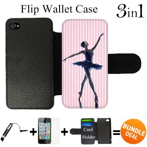 Pink Ballet Custom iPhone 4 Wallet Cases/4S Wallet Cases,Bundle 3in1 Comes with HD Screen Protector/Universal Stylus Pen by innosub (Iphone 4 Cases Ebay compare prices)