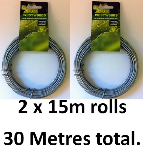 30 Metre X 2mm Galvanised Garden Wire. Tie Shrubs Climbing Plants Trees