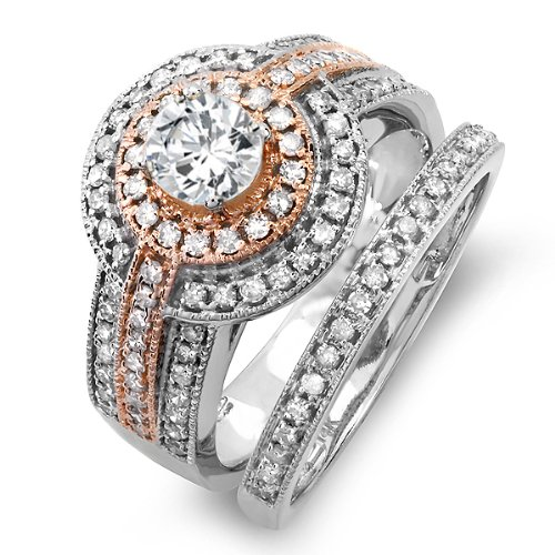 Shop Diamond Bridal Wedding Set Reviews Sell on 14K Two Tone Rose Gold Real