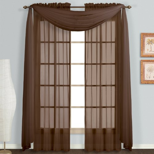 United Curtain Monte Carlo Sheer Scarf, 59 by 144-Inch, Chocolate Home ...