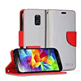Galaxy S5 mini Case, GMYLE Wallet Case Classic for Samsung Galaxy S5 mini - Silver Grey & Red Cross Pattern PU Leather Protective Flip Folio Slim Fit Wallet Stand Case Cover