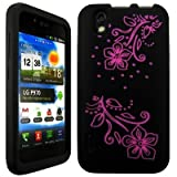 Wayzon LG Optimus P970 Case Cover Skin Pouch Black Silica Rubber With Glory Flower Pattern On Back