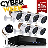 ELEC AHD 720P 2000TVL 8 Channel Video Security System DVR and 8 Weatherproof Indoor/Outdoor 1.3MP Cameras with IR Night Vision LEDs,NO Hard Drive