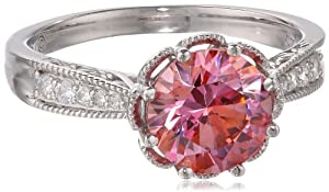 Royale Sterling Silver Pink and White with Swarovski Zirconia Round Ring by Amazon Curated Collection