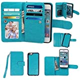 iPhone 5 5S Case, xhorizon TM Premium Leather Folio Case [Wallet Function] [Magnetic Detachable] Fashion Wristlet Lanyard Hand Strap Purse Soft Flip Book Style Multiple Card Slots Cash Compartment Pocket with Magnetic Closure Case Cover Skin ZA5 for iPhone 5/5S - Blue