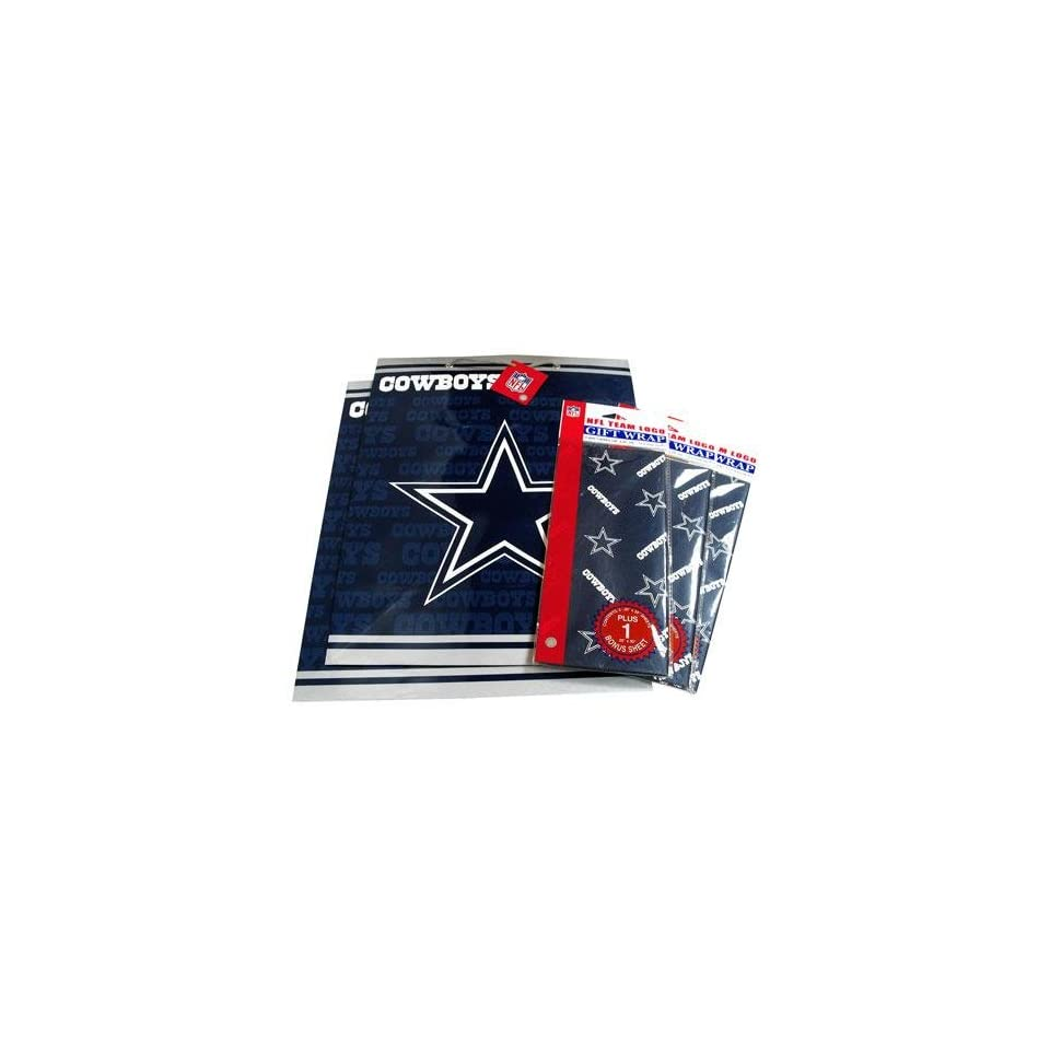 Dallas Cowboys NFL Large Gift Bags (2) & Flat Gift Wrap (3) Pack #2