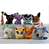 "Pack of 8 Pcs Plush Soft Toy Stuffed Animal Figures Poke Doll 5"" Glaceon Leafeon Flareon Espeon Umbreon Eevee Vaporeon Jolteon Handmade"