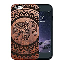 JuBeCo Patterni Design iPhone 6(4.7 Inch),Handmade Natural Solid Wood Case, Bamboo Case.(Eight flowers and elephant)