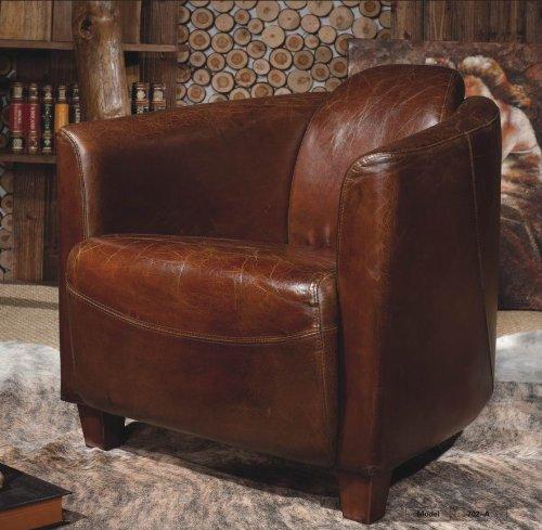 Echtleder Vintage Sessel Ledersessel Design Lounge Clubsessel Sofa Möbel NEU 443