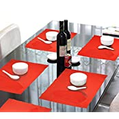 Lushomes Red 6 Cotton Mats & 6 Plain Cotton Napkins (12 Pcs)