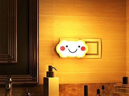 BearsFire® Creative Smile Cloud Design LED Sensor Night Light Intelligent Optically Control lamp Energy-saving Light Operated Wall Plug LED Night Lamp Light for kid's bedroom, playroom, hallway, bathroom, anywhere inside your house (Yellow)