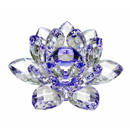 Amlong Crystal High Quality Hue Reflection Crystal Lotus Flower with Gift Box, 3-Inch, Blue