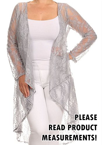 Women's Plus Size Long All Lace Dressy Maxi Cardigan Draped Front Long Sleeve (1X, Silver)