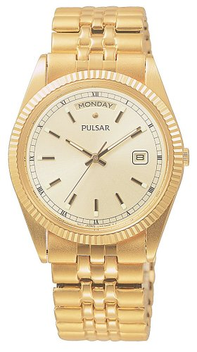 Pulsar PVM004 Men's Quartz Yellow Gold Tone Expansion Band Watch