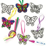 Butterfly Mini Suncatchers Glass Effect Acrylic Decorations 7cm with Ribbons Children's Painting Craft (Pack of 12)