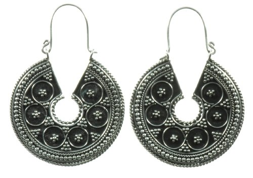 Silver Millstone Earring Jewelry of Bali