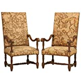 Impressive Pair of Antique French Louis XIII Needlepoint Throne Chairs