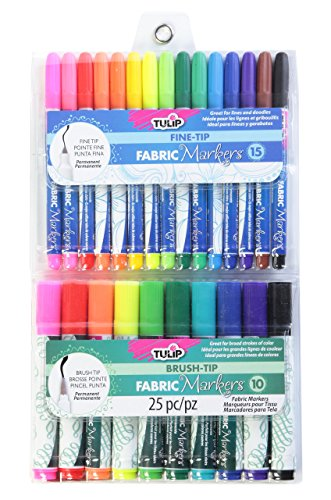 Big Save! Tulip Fine and Brush-Tip Fabric Markers (Pack of 25)