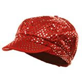 Aluminum Dots Newsboy Cap - Red