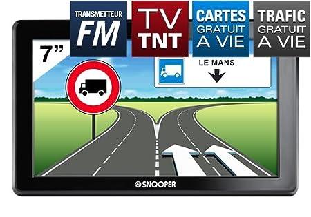 """Snooper DB8500PL: GPS Poids Lourd écran 7"""" avec télévision TNT, transmetteur FM et CARTE A VIE"""
