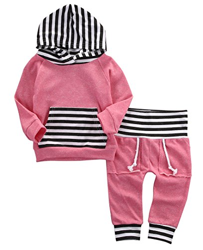Newborn Baby Boy Girl Warm Striped Hoodie T-shirt Pants Outfit Set Kids Clothes