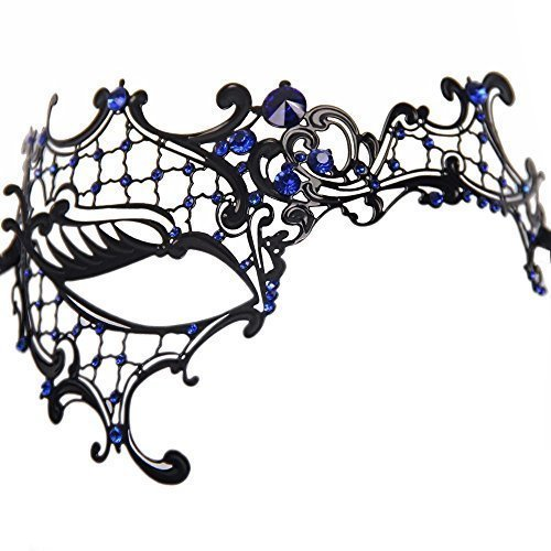Signstek Glossy Metal Filigree Phantom Half Eye Mask for Venetian Masquerade, Black/Blue Stones