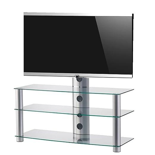 SONOROUS PL2330 TG-Mobile per TV, con 3 ripiani e 110 cms ancho. di vetro trasparente/telaio: grigio.