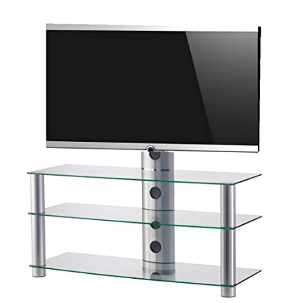 SONOROUS PL2330 TG-Mobile per TV, con 3 ripiani e 110 cms di vetro ancho. telaio: Trasparente/Grigio.