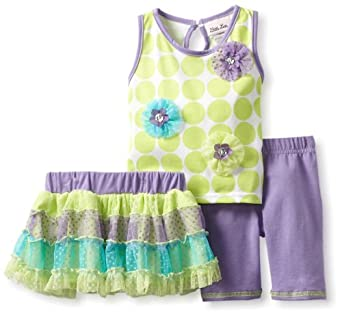 Little Lass Baby-Girls Infant 3 Piece Skirt Set with Ruffles, Lime, 24 Months