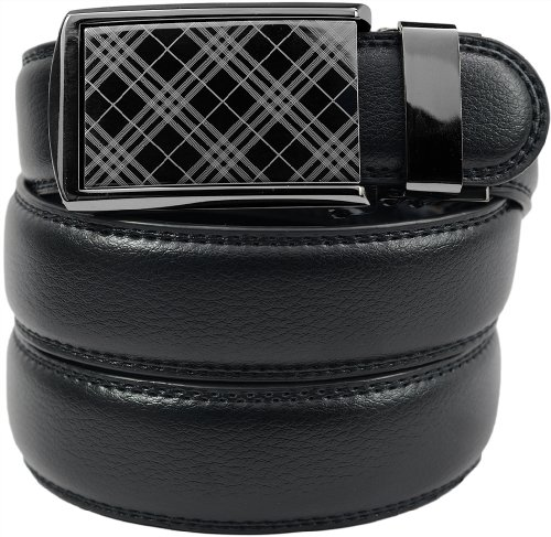 "Slidebelt - Tartan Buckle With Black Leather (46-50"")"