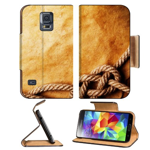Minimalistic Vintage Ropes Desk Papyrus Samsung Galaxy S5 Sm-G900 Flip Cover Case With Card Holder Customized Made To Order Support Ready Premium Deluxe Pu Leather 5 13/16 Inch (148Mm) X 2 1/8 Inch (80Mm) X 5/8 Inch (16Mm) Msd S V S 5 Professional Cases A