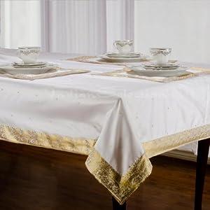 Amazoncom White Gold Handmade Sari Oblong Tablecloth