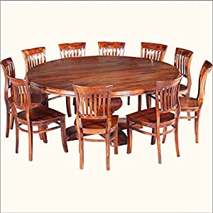 Sierra solid wood 84 inches large pedestal for 10 person dining room table