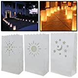 AMOS 10 x Candle Bags Luminary White Paper Tea Light Lantern Bags Hearts Moon & Stars Sun for Wedding Party Garden BBQ Christmas Xmas New Year Decoration
