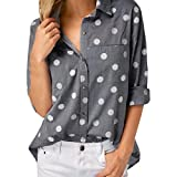 vermers Women Shirts Clearance - Ladies Work Office Dot Print Gray Casual Long Sleeve Blouse Tops