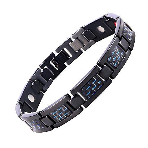 Starista Mens Black Titanium 4 Element Magnetic Bracelet Blue Carbon Fiber Inlay in Classy Giftbox (Carbon Steel Pendant compare prices)
