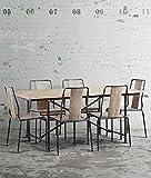 Mesa de comedor y 6 sillas con carácter, hechas de madera reciclada. Bonito acabado en acero negro industrial. Patas y juntas macizas de hierro fundido. Inspirado en el diseño industrial francés de los principios del siglo XX. Ideal para ento...