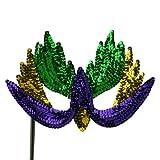 Sequin Mardi Gras Mask - Green Yellow Purple W41S33C