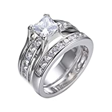 buy 1.25Ct Princess Cut Simulated Solitaire Diamond Rings Set White Gold 2 Pieces Size10