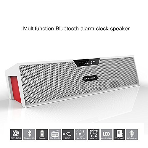 Portable Wireless Bluetooth Stereo Speaker with 2 X 5W Speaker Enhanced Bass Resonator, FM Radio, Built-in Mic, LED Display, Alarm clock, 3.5 mm Audio Jack, support TF card/Micro SD card and USB input, up to 35ft Bluetooth Range, up to 8 Hours Playtime, support MP3, WAV, WMA, APE, FLAC format audio file (White and Red)