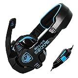 TopSku Colored SADES SA-708 Stereo Headphone Computer Gaming Headset Headphones Earset Earphone with Microphone (black/blue)