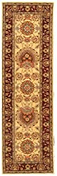 Legacy Handmade Wool and Silk Rug Beige Burgundy 2' 3&quot; x 10' Area Rug