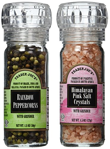 Trader Joe's Gourmet Set with Grinder Tops: Rainbow Peppercorns/Pink Himalayan Salt Crystals