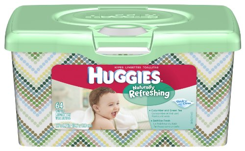 Huggies Naturally Refreshing Cucumber & Green Tea Baby Wipes, 64-Count Popup Tub (Pack of 8)
