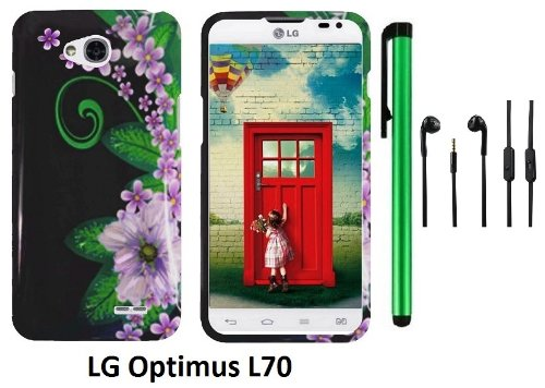 Lg Optimus L70 (Ms323) Premium Pretty Design Protector Hard Cover Case + 3.5Mm Stereo Earphones + 1 Of New Assorted Color Metal Stylus Touch Screen Pen (Black Green Pink Flower)