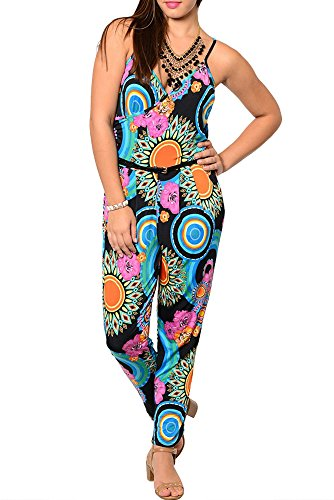 Dhstyles Women'S Plus Size Sexy Sheer Sleeveless Abstract Print Romper-1X - Black,Royal front-1049387